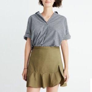 MADEWELL | Olive Green Ruffle Wrap Mini Skirt 10